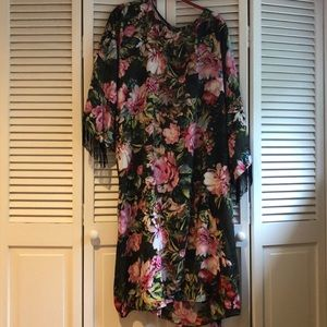 Floral Shift Dress with high fashion fringe